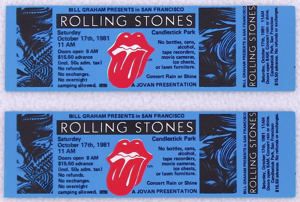 ROLLING STONES Tickets 1981